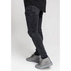Jeansy męskie regular: SIKSILK EXTREME BIKER Jeans Skinny Fit black acid wash