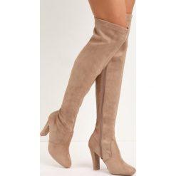 Beżowe Kozaki End Of Beginning. Brązowe buty zimowe damskie marki Born2be, z okrągłym noskiem, na wysokim obcasie. Za 139,99 zł.