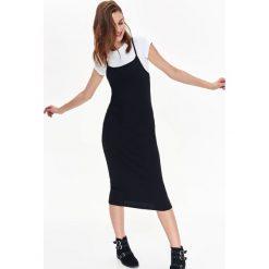 SUKIENKA DWUCZĘŚCIOWA DOPASOWANA. Szare sukienki z falbanami Top Secret, na jesień, dopasowane. Za 39,99 zł.