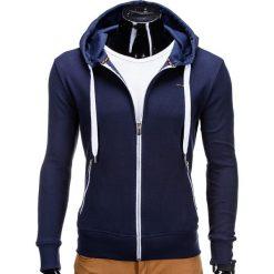Bluzy męskie: BLUZA MĘSKA ROZPINANA Z KAPTUREM B555 - GRANATOWA