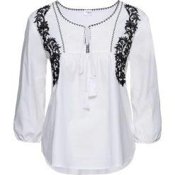 Bluzki damskie: Bluzka tunikowa, rękawy 3/4 bonprix biało-czarny