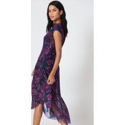 Sukienki: NA-KD Siateczkowa sukienka na jedno ramię – Purple,Multicolor,Navy