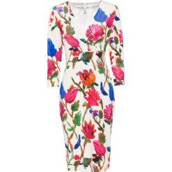 Sukienka bonprix beżowo-czerwony w kwiaty. Brązowe sukienki hiszpanki bonprix, w kwiaty. Za 149,99 zł.