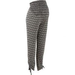 Elastyczne spodnie ciążowe bonprix czarno-kremowy z nadrukiem. Niebieskie spodnie ciążowe marki bonprix, w paski, z dżerseju. Za 99,99 zł.