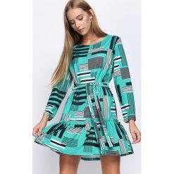 Sukienki: Czarno-Zielona Sukienka Azorella
