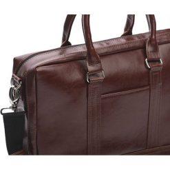 Elegancka Męska torba ze skóry na ramię RUSSEL brąz. Brązowe torby na ramię męskie Solier, w paski, ze skóry. Za 499,00 zł.