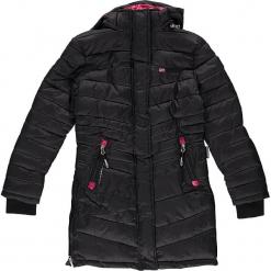 Parka zimowa w kolorze czarnym. Czarne kurtki dziewczęce zimowe marki Geographical Norway Kids & Women, z aplikacjami. W wyprzedaży za 250,95 zł.