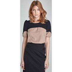 Bluzki asymetryczne: Beżowo-Czarna Elegancka Bluzka z Krótkim Rękawem