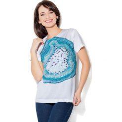 Colour Pleasure Koszulka damska CP-030 288 biało-niebieska r. XL/XXL. T-shirty damskie Colour pleasure, xl. Za 70,35 zł.