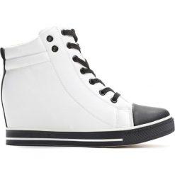 Sneakersy damskie: Sneakersy Białe White Lace-up Sneakers