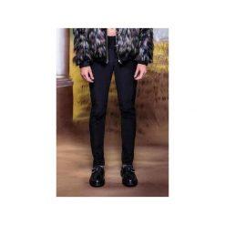Rurki męskie: Czarne spodnie slim fit z dwóch rodzajów sztruksu