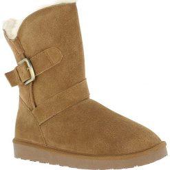 Buty zimowe damskie: Skórzane kozaki w kolorze brązowym