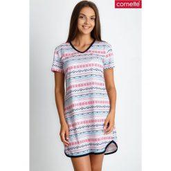 Piżama koszula nocna z azteckim wzorem QUIOSQUE. Szare koszule nocne i halki QUIOSQUE, na jesień, xl, w kolorowe wzory, z bawełny, z długim rękawem. W wyprzedaży za 79,99 zł.