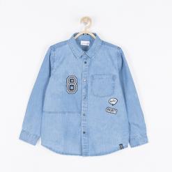 Koszula. Niebieskie koszule chłopięce z długim rękawem STREET VIBER, z aplikacjami, z bawełny, z klasycznym kołnierzykiem. Za 69,90 zł.