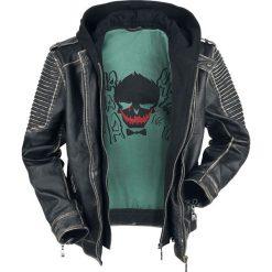 Suicide Squad The Joker Kurtka skórzana czarny. Czarne kurtki męskie bomber Suicide Squad, l, z aplikacjami, ze skóry, z kapturem. Za 812,90 zł.