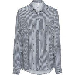 Bluzka bonprix ciemnoniebiesko-biały w paski. Niebieskie bluzki z odkrytymi ramionami bonprix, z nadrukiem, klasyczne, z klasycznym kołnierzykiem. Za 69,99 zł.