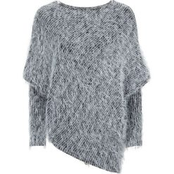 Swetry klasyczne damskie: Sweter z przędzy z długim włosem bonprix czarno-jasnoszary