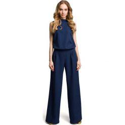 Odzież damska: Granatowy Elegancki Kombinezon z Wysokim Kołnierzem