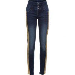 Spodnie z wysokim stanem: Dżinsy z metalicznymi paskami bonprix ciemny denim