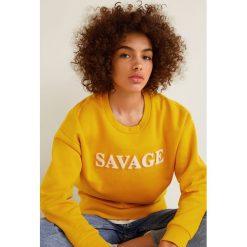Mango - Bluza Peli. Brązowe bluzy z nadrukiem damskie Mango, l, z bawełny, bez kaptura. W wyprzedaży za 69,90 zł.