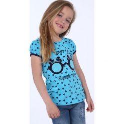 T-shirty dziewczęce: Bluzka dziewczęca we wzory niebieska NDZ8197