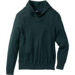 Swetry męskie: Sweter z szalowym kołnierzem Regular Fit bonprix niebieskozielony morski