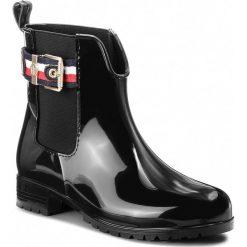 Kalosze TOMMY HILFIGER - Corporate Belt Rain FW0FW03329  Black 990. Czarne buty zimowe damskie TOMMY HILFIGER, z materiału. W wyprzedaży za 319,00 zł.