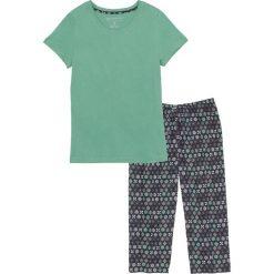 Piżamy damskie: Piżama ze spodniami 3/4 bonprix zielony szałwiowy – czarny z nadrukiem