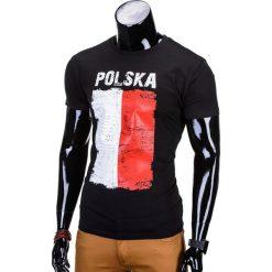 T-shirty męskie: T-SHIRT MĘSKI Z NADRUKIEM S775 – CZARNY