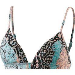 Biustonosz bikini w kolorze turkusowym ze wzorem. Niebieskie biustonosze z fiszbinami marki Najlepsze stroje na plażę, z materiału. W wyprzedaży za 121,95 zł.