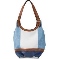 Torba na ramię trójkolorowa bonprix biało-niebiesko-brązowy. Białe torebki klasyczne damskie bonprix. Za 89,99 zł.