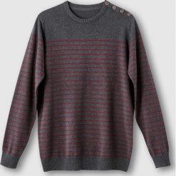 Swetry damskie: Sweter w paski z zapięciem na guziki