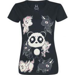 Jednorożec Panda Koszulka damska czarny. Czarne bluzki nietoperze Jednorożec, xxl, z nadrukiem, klasyczne, z okrągłym kołnierzem. Za 74,90 zł.