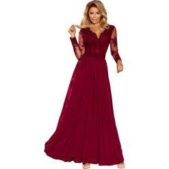 Sukienki: Bordowa Wieczorowa Sukienka Maxi z Koronkową Górą