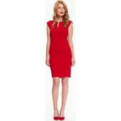 Sukienki: DZININOWA SUKIENKA Z CIĘCIAMI I OZDOBNYM ELEMENTEM PRZY DEKOLCIE