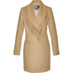 Płaszcz żakietowy z frędzlami bonprix cappuccino. Brązowe płaszcze damskie pastelowe bonprix. Za 189,99 zł.