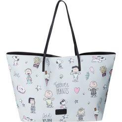 """Shopper bag damskie: Shopper bag """"Peanuts"""" w kolorze błękitnym – 55 x 34 x 18 cm"""