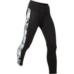 Legginsy sportowe, dł. 3/4, Level 1 bonprix czarno-srebrnoszary. Czarne legginsy damskie do fitnessu bonprix, w paski. Za 89,99 zł.