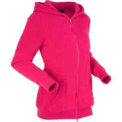 """Bluza z polaru """"baranek"""", długi rękaw bonprix różowoczerwony. Czerwone bluzy polarowe marki bonprix, z długim rękawem, długie. Za 79,99 zł."""