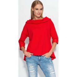 Czerwona Bluza z Szerokim Kapturem. Czerwone bluzy damskie Molly.pl, l, z dzianiny. Za 86,90 zł.