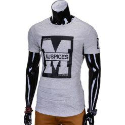 T-shirty męskie: T-SHIRT MĘSKI Z NADRUKIEM S789 – SZARY