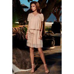 Sukienki: Letnia szyfonowa sukienka z krótkim rękawem beżowy