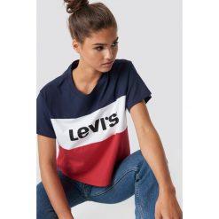 Levi's T-shirt Colorblock JV - White,Red,Blue,Multicolor. Białe t-shirty damskie Levi's®, s, z materiału, z okrągłym kołnierzem. Za 121,95 zł.