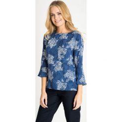 Bluzki damskie: Niebieska bluzka z kwiatowym motywem QUIOSQUE