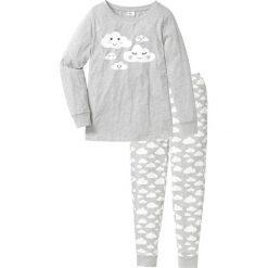 Piżamy damskie: Piżama, bawełna organiczna bonprix jasnoszary melanż z nadrukiem
