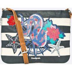 Desigual - Torebka Snake Sailor Molina. Szare torebki klasyczne damskie marki Desigual, w paski, z bawełny, średnie. W wyprzedaży za 139,90 zł.