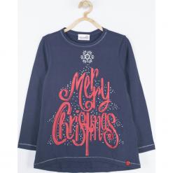Koszulka. Czerwone bluzki dziewczęce bawełniane marki Merry Christmas, z napisami, z klasycznym kołnierzykiem, z długim rękawem. Za 69,90 zł.