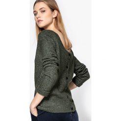 Swetry damskie: Sweter ażurowy, tył zapinany na guziki