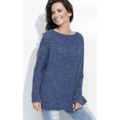 Swetry oversize damskie: Jeansowy Cieplutki Luźny Sweter z Angielskim Ściegiem