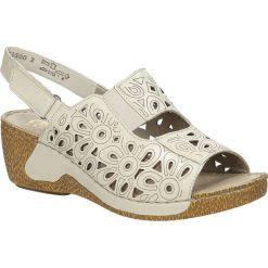 Sandały skórzane ażurowe na koturnie Rieker 65695. Czarne sandały damskie marki Rieker, z materiału. Za 169,99 zł.